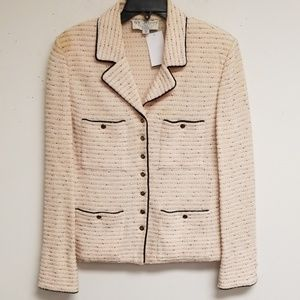 St. John Collection Pink Tweed Button Blazer 12